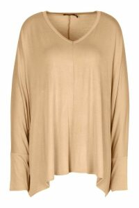 Womens Loose Fitting Boxy Top - beige - 14, Beige