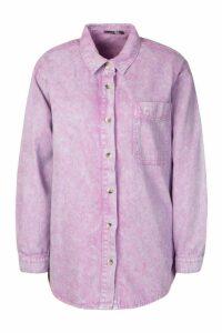 Womens Oversized Acid Wash Rigid Denim Shirt - Purple - 12, Purple