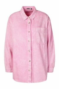 Womens Oversized Acid Wash Rigid Denim Shirt - Pink - 12, Pink