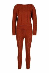Womens Cable Knit Crew Neck Lounge Set - orange - M/L, Orange