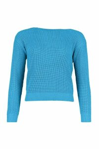 Womens Slash Neck Crop Fisherman Jumper - Blue - L, Blue