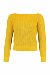 Womens Slash Neck Crop Fisherman Jumper - Yellow - S, Yellow