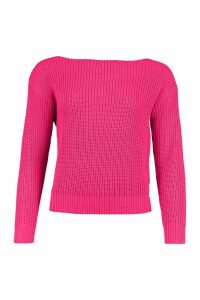 Womens Slash Neck Crop Fisherman Jumper - Pink - L, Pink