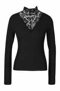 Womens Lace High Neck Ribbed Long Sleeve Top - black - 10, Black
