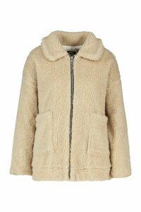 Womens Faux Fur Teddy Trucker Jacket - Beige - 14, Beige