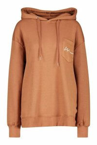Womens Woman Logo Pocket Oversized Hoodie - beige - 12, Beige
