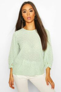 Womens Polka Dot Bow Sleeve Woven Blouse - Green - 10, Green