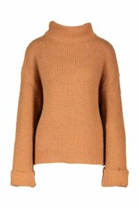 Womens Turn Up Cuff High Neck Fluffy Jumper - Beige - S, Beige