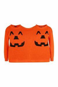 Womens Halloween Pumpkin Twin Jumper - orange - One Size, Orange