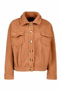 Womens Petite Wool Look Trucker Jacket - Beige - 6, Beige