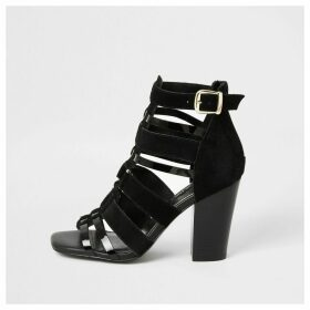 River Island Womens Black leather strappy heeled sandals