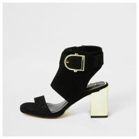 River Island Womens Black suede buckle heeled shoe boots