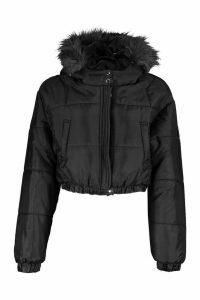 Womens Faux Fur Trim Crop Puffer Jacket - black - 14, Black