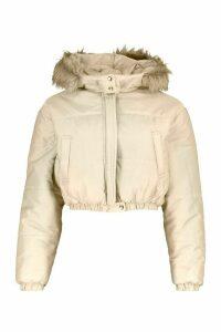 Womens Faux Fur Trim Crop Puffer Jacket - beige - 14, Beige