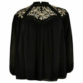 River Island Womens Plus Black embroidered sheer blouse