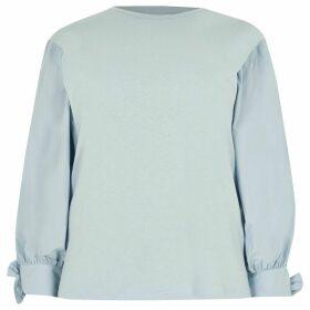 River Island Womens Plus Blue long puff poplin sleeve T-shirt
