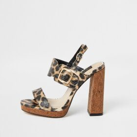 River Island Womens Brown leopard print wide fit heeled sandals