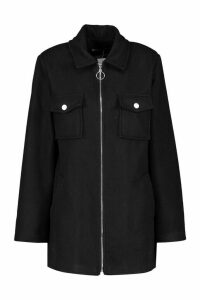 Womens Utility O Ring Wool Look Shirt Jacket - black - 14, Black