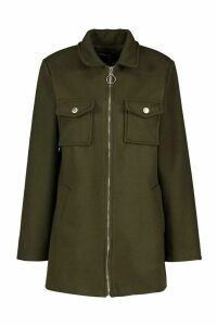 Womens Utility O Ring Wool Look Shirt Jacket - green - 14, Green