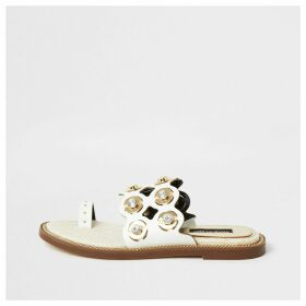 River Island Womens White cutout embellished wide fit sandals