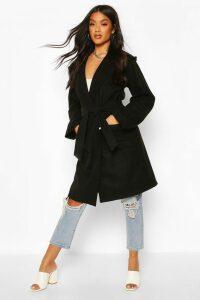 Womens Hooded Belted Utility Pocket Wool Look Coat - black - 8, Black
