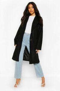 Womens Brushed Wool Look Oversized Longline Coat - black - 8, Black