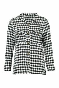 Womens Dogtooth Boucle Oversized Shirt Jacket - Black - 12, Black