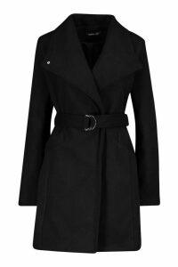 Womens Wide Collar D-Ring Belt Wool Look Coat - black - 16, Black