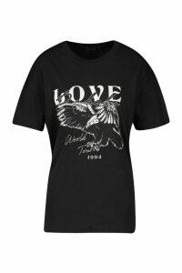 Womens Love Graphic T-Shirt - black - M, Black