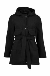 Womens Pocket Belted Wool Look Hooded Coat - black - 16, Black