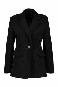 Womens Luxe Brushed Wool Look Oversized Blazer Coat - black - 16, Black