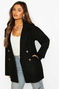 Womens Double Breasted Wool Look Coat - black - 12, Black