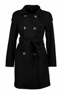 Womens Belted Wool Look Double Breasted Trench Coat - black - 16, Black