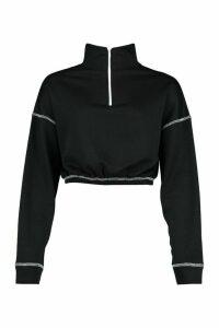 Contrast Half Zip jumper - black - 16, Black
