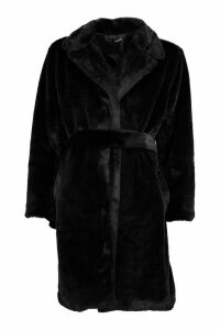 Womens Belted Faux Fur Dressing Gown Coat - Black - 12, Black