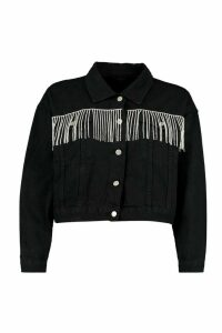 Womens Rhinestone Diamente Tassle Cropped Denim Jacket - Black - 12, Black