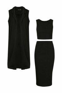 Womens 3 Piece Midi Shirt And Duster Co-ord Set - black - 12, Black