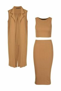 Womens 3 Piece Midi Shirt And Duster Co-ord Set - beige - 14, Beige