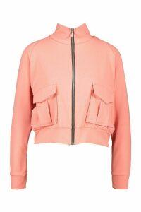 Womens Pocket Detail Bomber Jacket - pink - 14, Pink