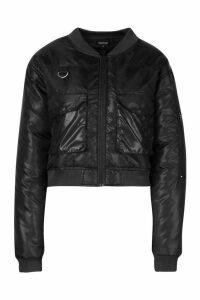 Womens Pocket Front Buckle Detail Bomber Jacket - black - 8, Black