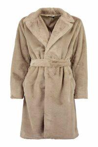 Womens Belted Faux Fur Dressing Gown Coat - Beige - 16, Beige