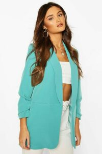 Womens Ruched Sleeve Blazer - green - 14, Green