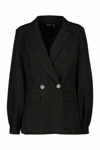 Womens Volume Sleeve Diamante Button Blazer - black - 12, Black