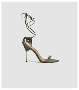 Reiss Zhane - Suede Strappy Wrap Sandals in Pale Green, Womens, Size 8