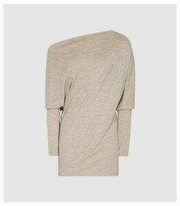 Reiss Sienna - Draped Jersey Top in Neutral, Womens, Size XL