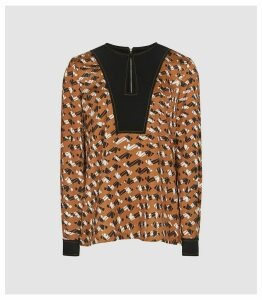 Reiss Felicity - Printed Blouse in Rust, Womens, Size 16