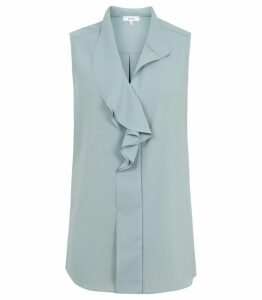 Reiss Noa - Ruffle-front Top in Crystal Blue, Womens, Size 14