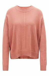 Oversized-fit sweater with mixed stitching detail