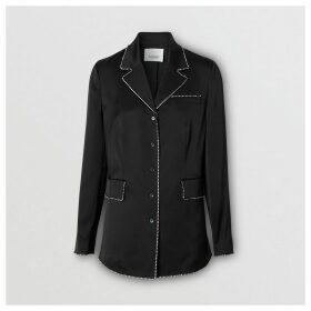 Burberry Embellished Silk Shirt, Black