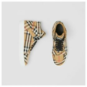 Burberry Vintage Check Cotton High-top Sneakers, Yellow